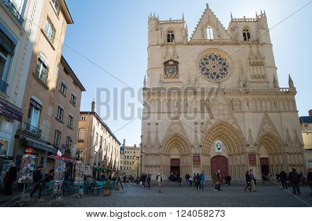 Lyon France - March 26 2016: The Saint Jean Cathedral and the Saint Jean square located in the old town of Lyon.