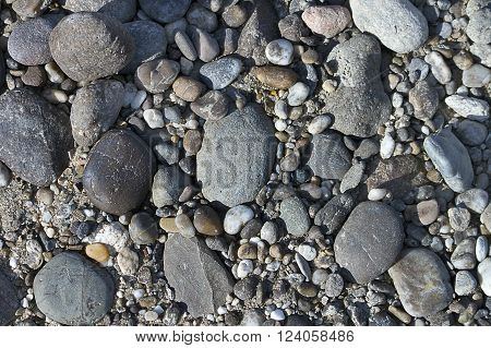 Coastal pebbles of different shapes and colors on a grey ground.  It fills completely the whole space of picture. Suitable for background or texture. View from top.