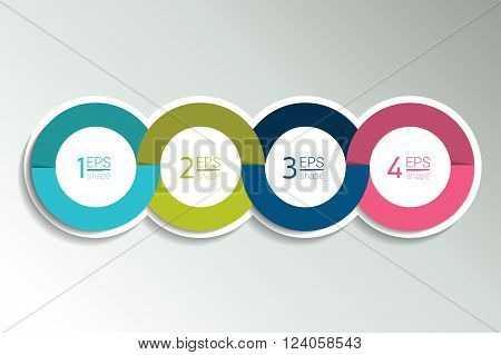 4 business elements banner, template. 4 steps design, chart, infographic, step by step number option, layout. 3D cyrcle style.