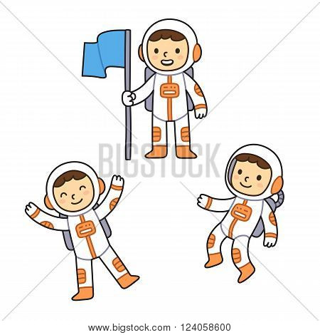 Cute cartoon astronaut set. Cartoon astronaut boy in different poses floating in space and holding flag.