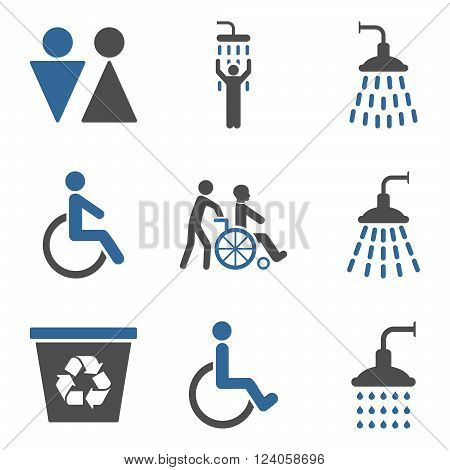 Toilet and Shower vector icon set. Style is bicolor cobalt and gray flat symbols isolated on a white background.