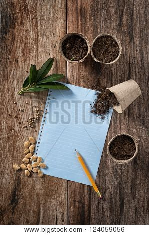 Closeup of peat planting pots filled with soil and seeds with sheet of blank paper to write shot on rustic wooden background. Gardening and planting seedlings spring is here concept. Copyspace.