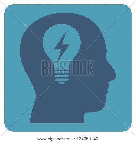 Head Bulb vector icon symbol. Image style is bicolor flat head bulb pictogram symbol drawn on a rounded square with cyan and blue colors.