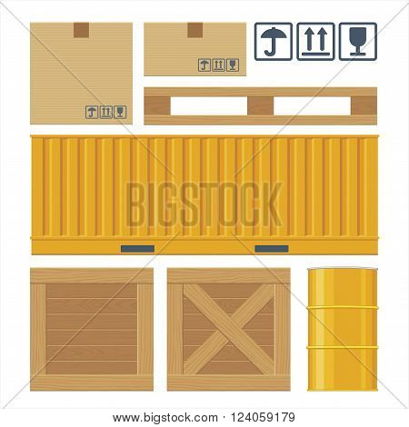 Brown carton packaging box pallet yellow container wooden crates metal barrel isolated on white background with fragile attention signs. Flat vector set illustration for icon banner info graphic.