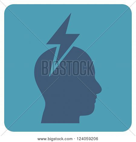Headache vector pictogram. Image style is bicolor flat headache iconic symbol drawn on a rounded square with cyan and blue colors.