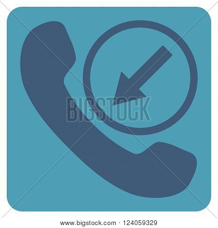 Incoming Call vector pictogram. Image style is bicolor flat incoming call pictogram symbol drawn on a rounded square with cyan and blue colors.