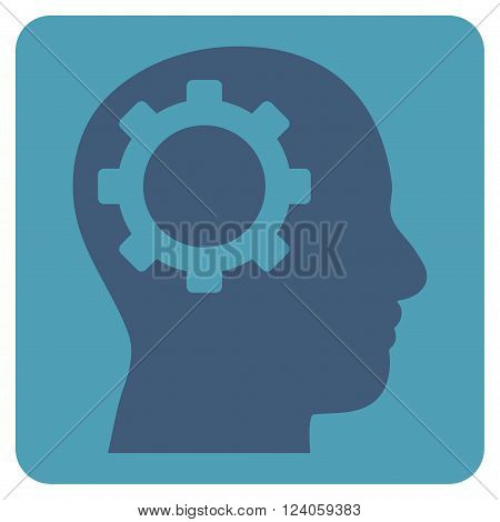 Intellect Gear vector symbol. Image style is bicolor flat intellect gear iconic symbol drawn on a rounded square with cyan and blue colors.