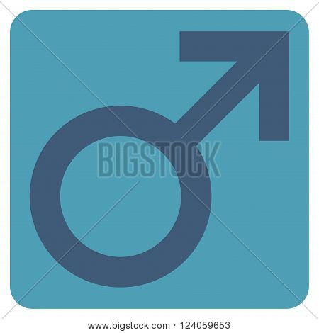 Male Symbol vector symbol. Image style is bicolor flat male symbol pictogram symbol drawn on a rounded square with cyan and blue colors.