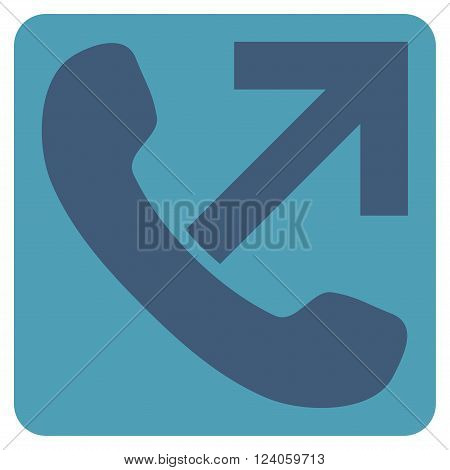 Outgoing Call vector icon symbol. Image style is bicolor flat outgoing call pictogram symbol drawn on a rounded square with cyan and blue colors.