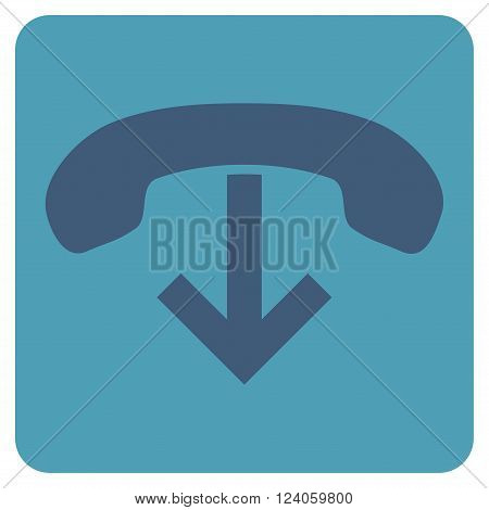 Phone Hang Up vector icon symbol. Image style is bicolor flat phone hang up iconic symbol drawn on a rounded square with cyan and blue colors.