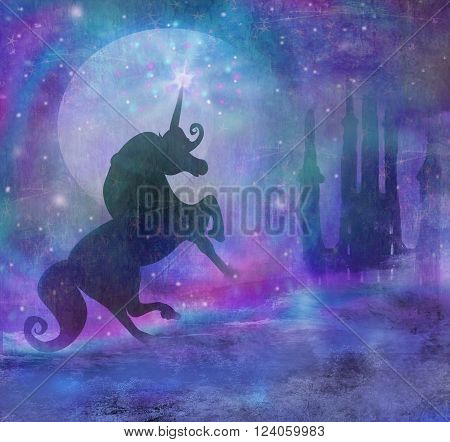 Castle and Unicorn at night on abstract landscape , raster