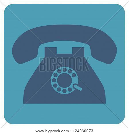 Pulse Phone vector icon. Image style is bicolor flat pulse phone pictogram symbol drawn on a rounded square with cyan and blue colors.