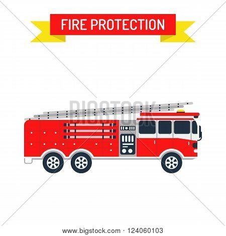 Fire truck safety department and fire truck siren transport vector. Detailed illustration of fire truck emergency car cartoon vector illustration in a flat style.