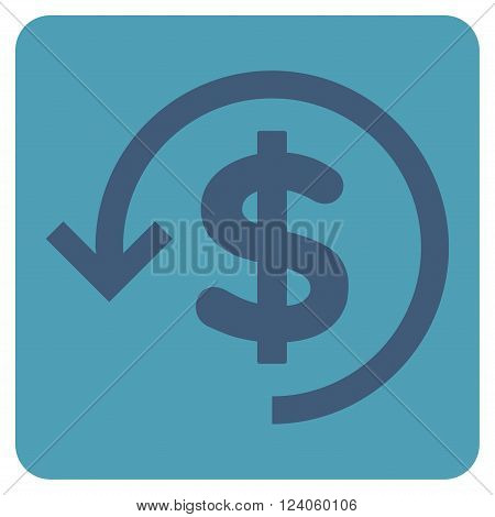 Refund vector icon symbol. Image style is bicolor flat refund pictogram symbol drawn on a rounded square with cyan and blue colors.