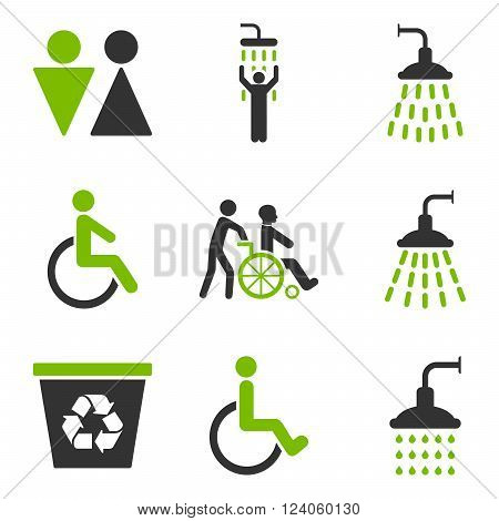 Toilet and Shower vector icon set. Style is bicolor eco green and gray flat symbols isolated on a white background.
