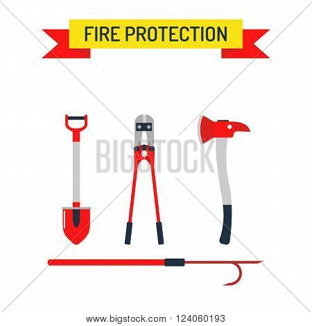 Fire safety equipment sign and fire safety emergency icons set. Vector Set Firefighter Fire safety Flat Icons and Symbols.