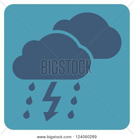 Thunderstorm vector symbol. Image style is bicolor flat thunderstorm icon symbol drawn on a rounded square with cyan and blue colors.