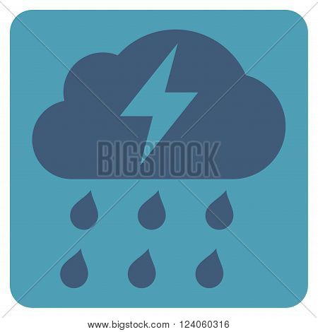 Thunderstorm vector icon symbol. Image style is bicolor flat thunderstorm icon symbol drawn on a rounded square with cyan and blue colors.