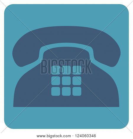 Tone Phone vector pictogram. Image style is bicolor flat tone phone pictogram symbol drawn on a rounded square with cyan and blue colors.