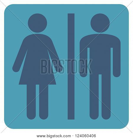 WC Persons vector pictogram. Image style is bicolor flat WC persons iconic symbol drawn on a rounded square with cyan and blue colors.