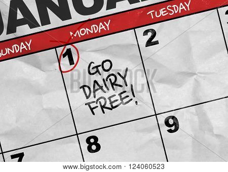 Concept image of a Calendar with the text: Go Dairy Free