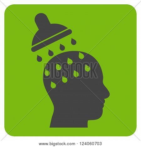 Brain Washing vector pictogram. Image style is bicolor flat brain washing iconic symbol drawn on a rounded square with eco green and gray colors.
