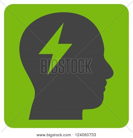 Brainstorming vector symbol. Image style is bicolor flat brainstorming iconic symbol drawn on a rounded square with eco green and gray colors.