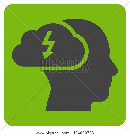 Brainstorming vector pictogram. Image style is bicolor flat brainstorming icon symbol drawn on a rounded square with eco green and gray colors.