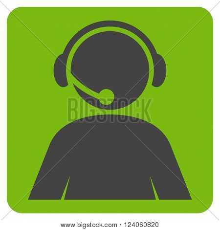 Call Center Operator vector symbol. Image style is bicolor flat call center operator iconic symbol drawn on a rounded square with eco green and gray colors.
