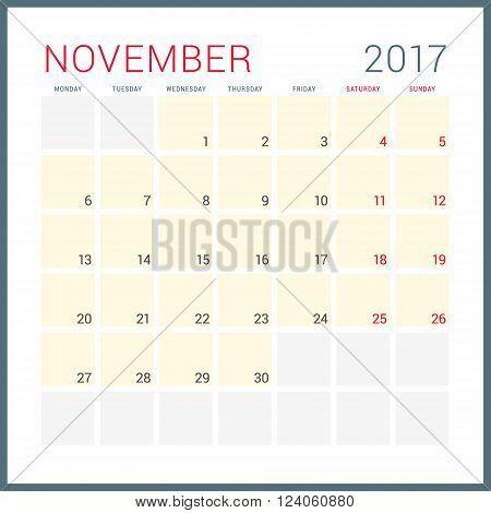 Calendar Planner For 2017 Year. Vector Flat Design Template. November. Week Starts Monday. Stationer
