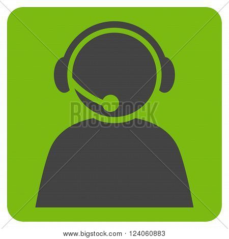 Call Center Operator vector icon. Image style is bicolor flat call center operator icon symbol drawn on a rounded square with eco green and gray colors.