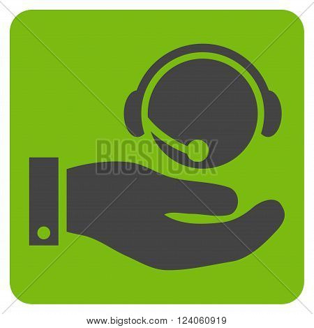 Call Center Service vector icon. Image style is bicolor flat call center service iconic symbol drawn on a rounded square with eco green and gray colors.