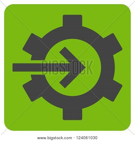 Cog Integration vector icon symbol. Image style is bicolor flat cog integration icon symbol drawn on a rounded square with eco green and gray colors.