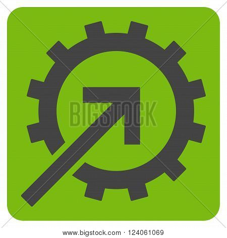 Cog Integration vector symbol. Image style is bicolor flat cog integration pictogram symbol drawn on a rounded square with eco green and gray colors.