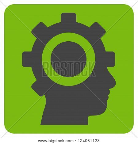 Cyborg Gear vector icon. Image style is bicolor flat cyborg gear icon symbol drawn on a rounded square with eco green and gray colors.