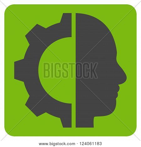 Cyborg Gear vector pictogram. Image style is bicolor flat cyborg gear pictogram symbol drawn on a rounded square with eco green and gray colors.