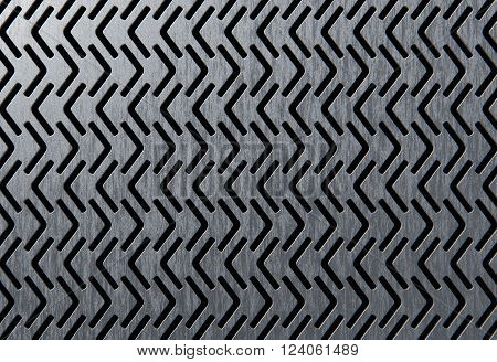 Abstract perforated brushed metallic panel 3d rendering
