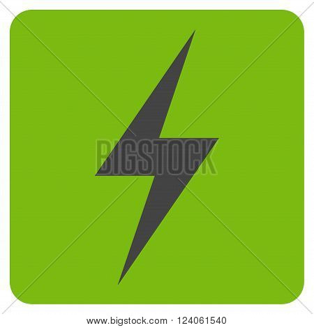 Electricity vector icon symbol. Image style is bicolor flat electricity pictogram symbol drawn on a rounded square with eco green and gray colors.