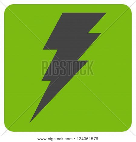 Execute vector symbol. Image style is bicolor flat execute pictogram symbol drawn on a rounded square with eco green and gray colors.