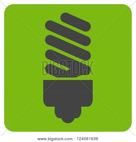 Fluorescent Bulb vector symbol. Image style is bicolor flat fluorescent bulb icon symbol drawn on a rounded square with eco green and gray colors.