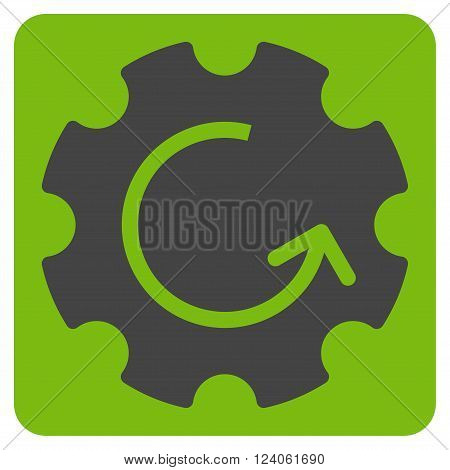 Gear Rotation vector pictogram. Image style is bicolor flat gear rotation iconic symbol drawn on a rounded square with eco green and gray colors.