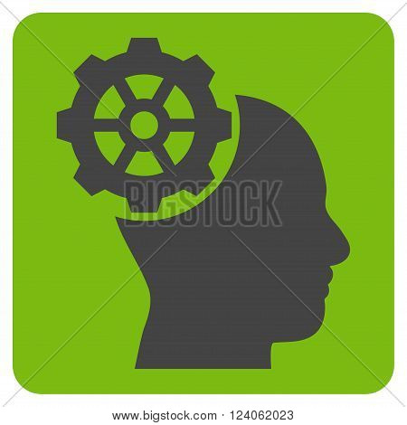 Head Gear vector symbol. Image style is bicolor flat head gear iconic symbol drawn on a rounded square with eco green and gray colors.