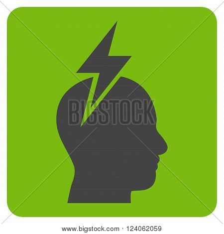 Headache vector icon symbol. Image style is bicolor flat headache iconic symbol drawn on a rounded square with eco green and gray colors.