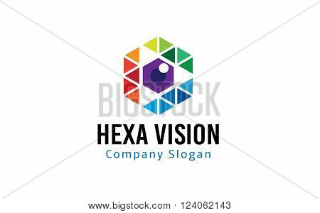 Hexagon Vision Creative And Symbolic Logo Design Illustration
