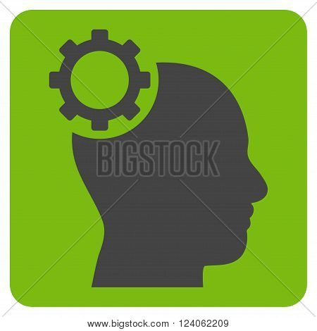 Intellect Gear vector icon. Image style is bicolor flat intellect gear pictogram symbol drawn on a rounded square with eco green and gray colors.