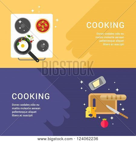 Cooking Concept. Set of Web Banners. Pan with Fried Eggs. Cutting Board. Flat Style Vector Illustration