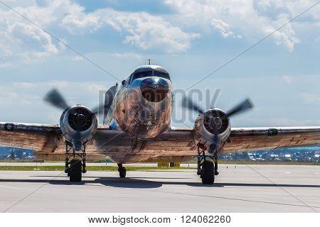 Dakota Douglas C 47 transport old plane boarded on the runway summer