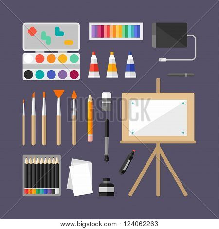 Set of Art Supplies Art Instruments for Painting Drawing Sketching. Flat Design Vector Illustration