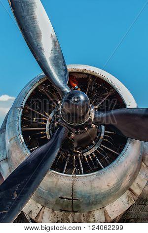 Dakota Douglas C 47 transport engine and propeller close up summer