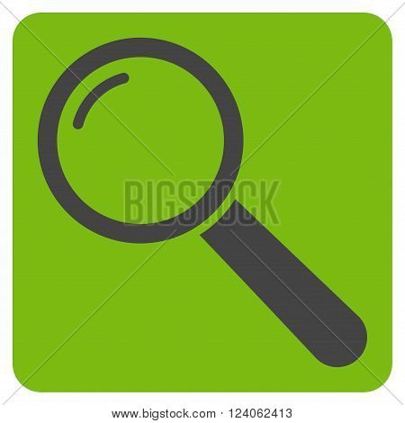Magnifier vector pictogram. Image style is bicolor flat magnifier iconic symbol drawn on a rounded square with eco green and gray colors.